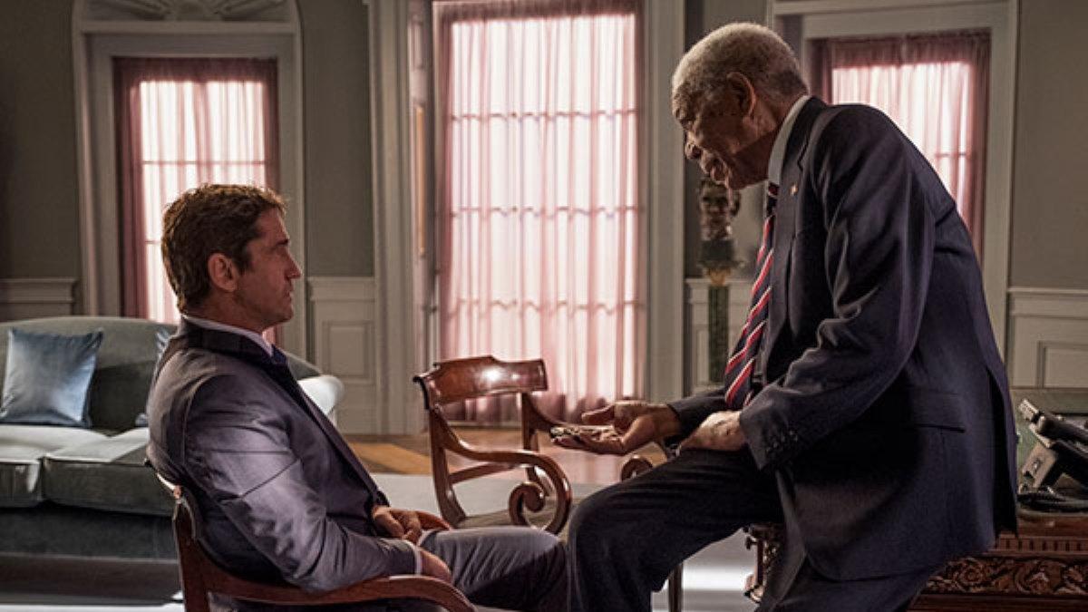 Gerard Butler e Morgan Freeman no filme Invasão ao Serviço Secreto