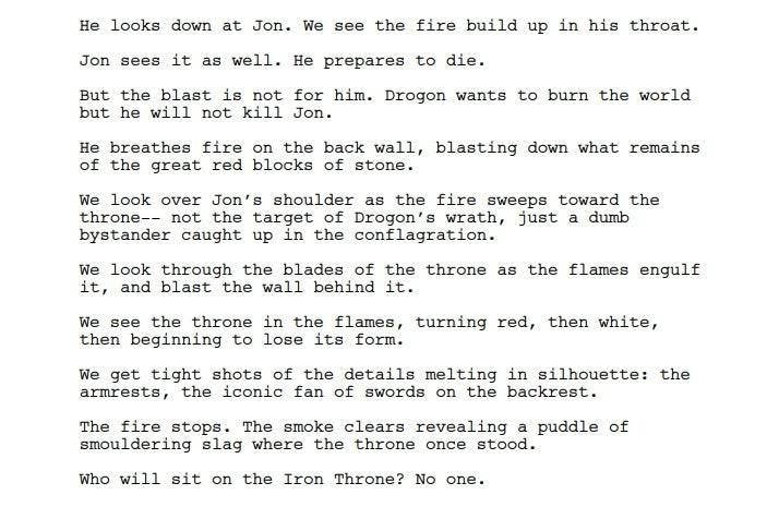 Script original do último episódio de Game of Thrones