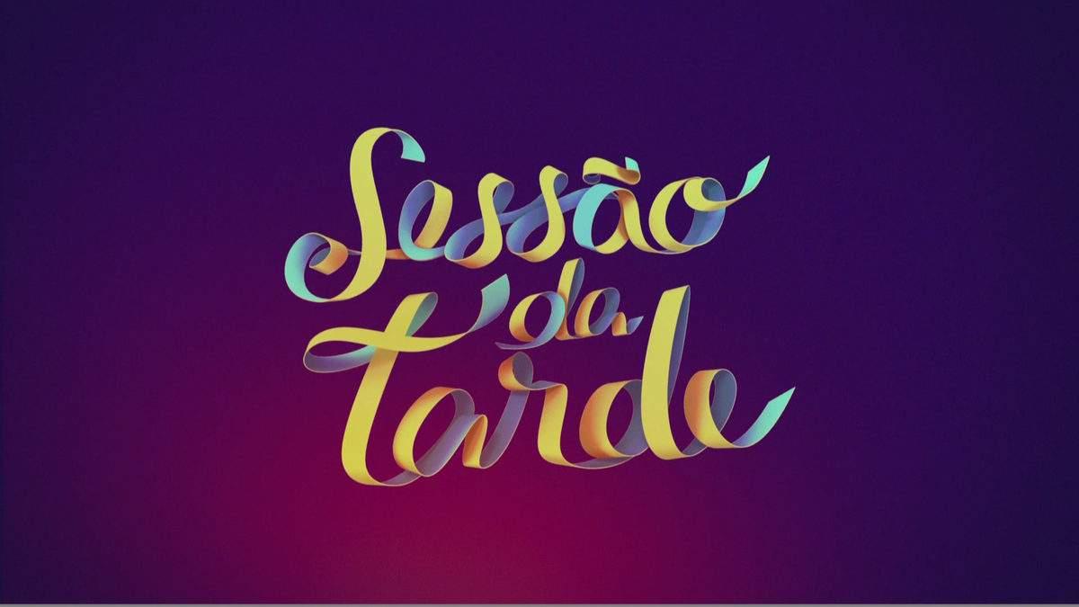 Logotipo novo da Sessão da Tarde indicando qual filme vai passar hoje